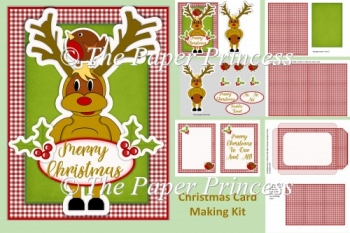 Rudolph and Robin Cute Card with inserts and envelope