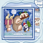 HEDGEHOGS PUDDING PARADE Christmas 7.5 Decoupage & Insert Kit