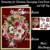Poinsettias for Christmas Decoupage Card Front and Gift Tag