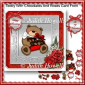 Teddy With Chocolates And Roses Card Front