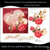 Heart of Love and Roses Topper with Decoupage