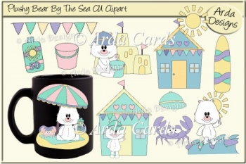 Plushy Polar Bear By The Sea CU Clipart