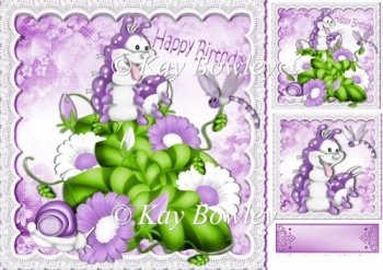 Enchanted garden with purple flowers & cute bugs 8x8