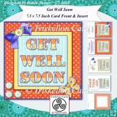 Bright Get Well Soon 7.5 Inch Card Front & Insert