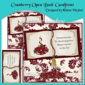 Cranberry Open Book Cardfront with Decoupage