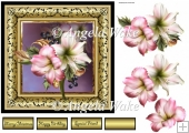 Amaryllis 7x7 card with decoupage