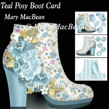 Teal Posy Boot Card
