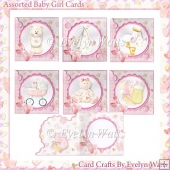 6 Shaped Baby Girl Card Kit