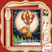 Just Dropping In Christmas Deer & Balloon Decoupage & Insert Kit