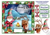 Gnome & Santas Lost Reindeer - 8 x 8 Card Topper With Decoupage
