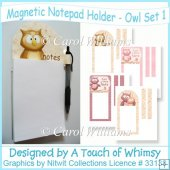 Magnetic Notepad Holder - Owl Set 1