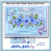Blue And Lilac Flower Spray Card Front