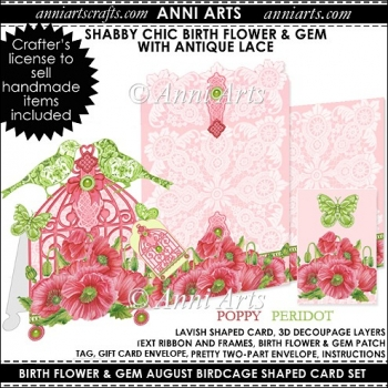 Birth Flower and Gem August: Shabby Chic Birdcage Card Set