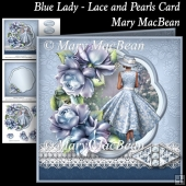 Blue Lady - Lace and Pearls Card