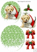 cute puppy and kitten in santa hat with bows rocker card