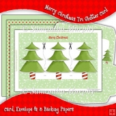 Merry Christmas Tri Shutter Card, Envelope & Backing Papers