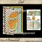 Owl Upright Diamondfold Card & Envelope