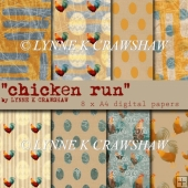 CHICKEN RUN - by LYNNE K CRAWSHAW - 8 X A4 digital papers CUOK!