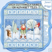 SKATING REINDEER Easy Cut Names or Alphabet Tiles Word Kit