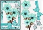 pretty turq flowers in scroll frame with bow & butterflies