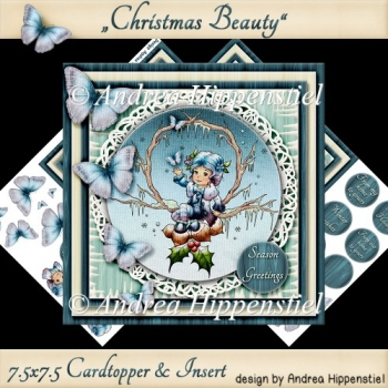 7.5 x 7.5 Card Topper Christmas Beauty
