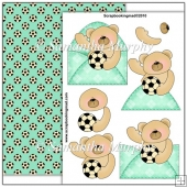 Green Football Bear PDF Decoupage Download