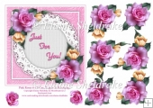 Pink Roses 6 x 6 Card Topper With Decoupage