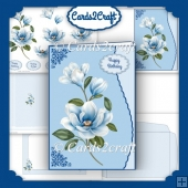 Blue magnolia wavy edge card set