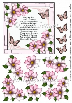 Pink Floral Frame A4 sheet with verse and floral decoupage