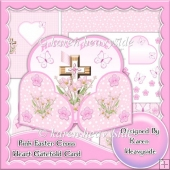 Pink Easter Cross Heart Wrap Around Gatefold Card