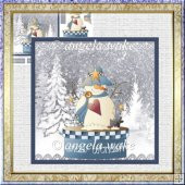 Snow wonder 7x7 card with decoupage and sentiment tags