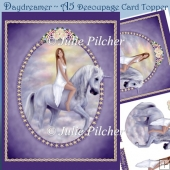 Daydreamer ~ Unicorn A5 Decoupage, Horse, Card Topper