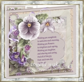 Mother's day pansy card with verse and decoupage