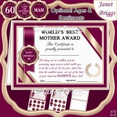 WORLD'S BEST MOTHER Humorous A5 Certificate & Ages Card Kit