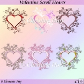Valentine Scroll Hearts Png