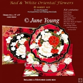 Red & White Oriental Flowers - Easel Card