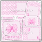 Butterfly In Pink Square Card Kit