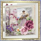 Basket of flowers 7x7 card with insert, decoupage and gift cards