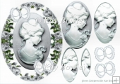 Pretty cameo lady with silve butterflies and roses oval pyramids