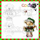 Beatrice the Bear holding ornaments and sentiment Digi stamp