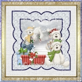 Bears Christmas card with decoupage and outer frame