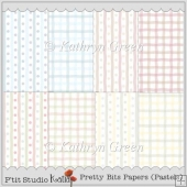 8 Pretty Bits Pastels Backing Papers - Stripes n Dots and Checks