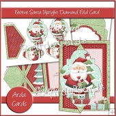 Festive Santa Upright Diamond Fold Card
