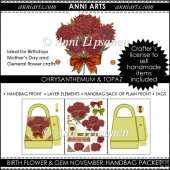 Birth Flowers and Gems November: Handbag Packet