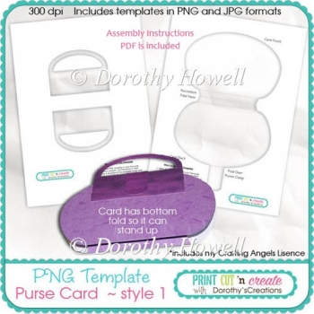 Purse Card Template 01 ~ Handled