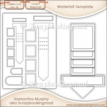 Waterfall templates instant card making downloads for Card making templates free download