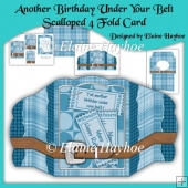 Another Birthday Under Your Belt Scalloped 4 Fold Card