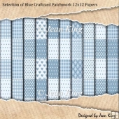 Selection of Blue Craftcard Patchwork 12x12 Papers