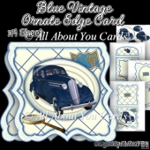 Blue Vintage Ornate Edge Card