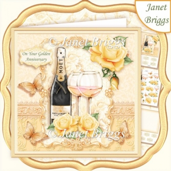 CHAMPAGNE CELEBRATIONS GOLD 7.8 Decoupage & Insert Mini Kit